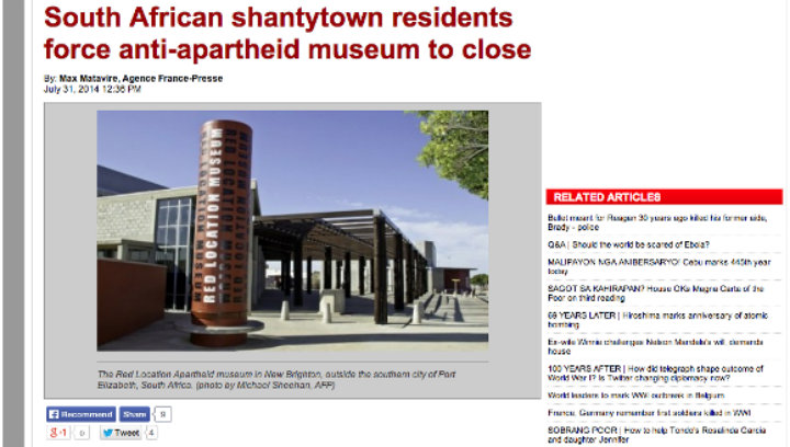 """South African shantytowns residents force anti-apartheid museum to close,"" Agence France-Presse"