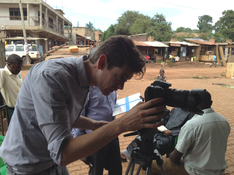 Charlie in Uganda for the Malaria Consortium project