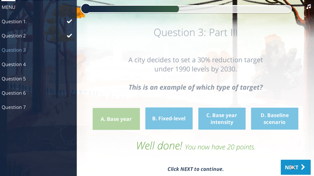 A screenshot from the knowledge assessment included in Module 5: Setting GHG Reduction Targets.