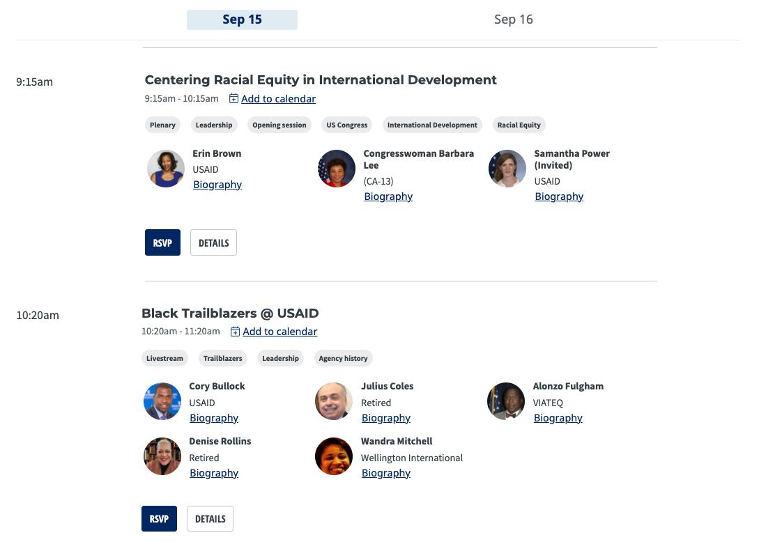 Screenshot of agenda on TechChange platform